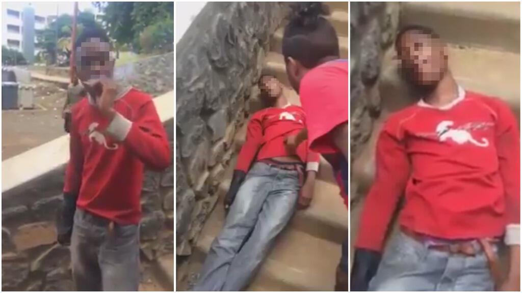 Captures d'écran d'une vidéo montrant un jeune homme sous l'emprise de cette drogue.