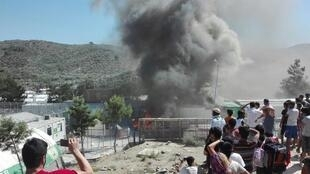 On Monday, July 10, a protest got out of hand in the Moria Camp on the Greek Island of Lesbos and, soon, some of the tents were ablaze. Photo: United Rescue Aid.