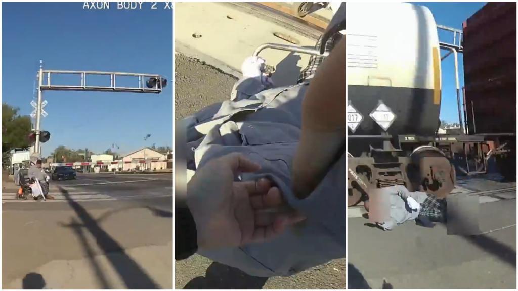هرعت الشرطية إريكا أوريا إلى الرجل العالق في السكة الحديدية و أخرجته من كرسيه المتحرك في ظرف ثوان قبل مرور القطار. صور شاشة.
