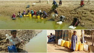 Des enfants yéménites en train de puiser de l'eau dans la région de Sana'a. Photos de notre Observateur et de l'OMS.