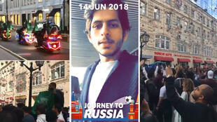 Captures d'écran de vidéos diffusées par des supporters saoudiens sur les réseaux sociaux.