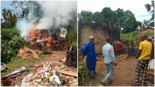 """Dans la région du Fouta-Djalon, en Guinée, des """"feux mystérieux"""" embrasent les habitations. Ici dans le district de Gonkou en septembre 2019. Photos : Alpha Ousmane Aob Bah."""