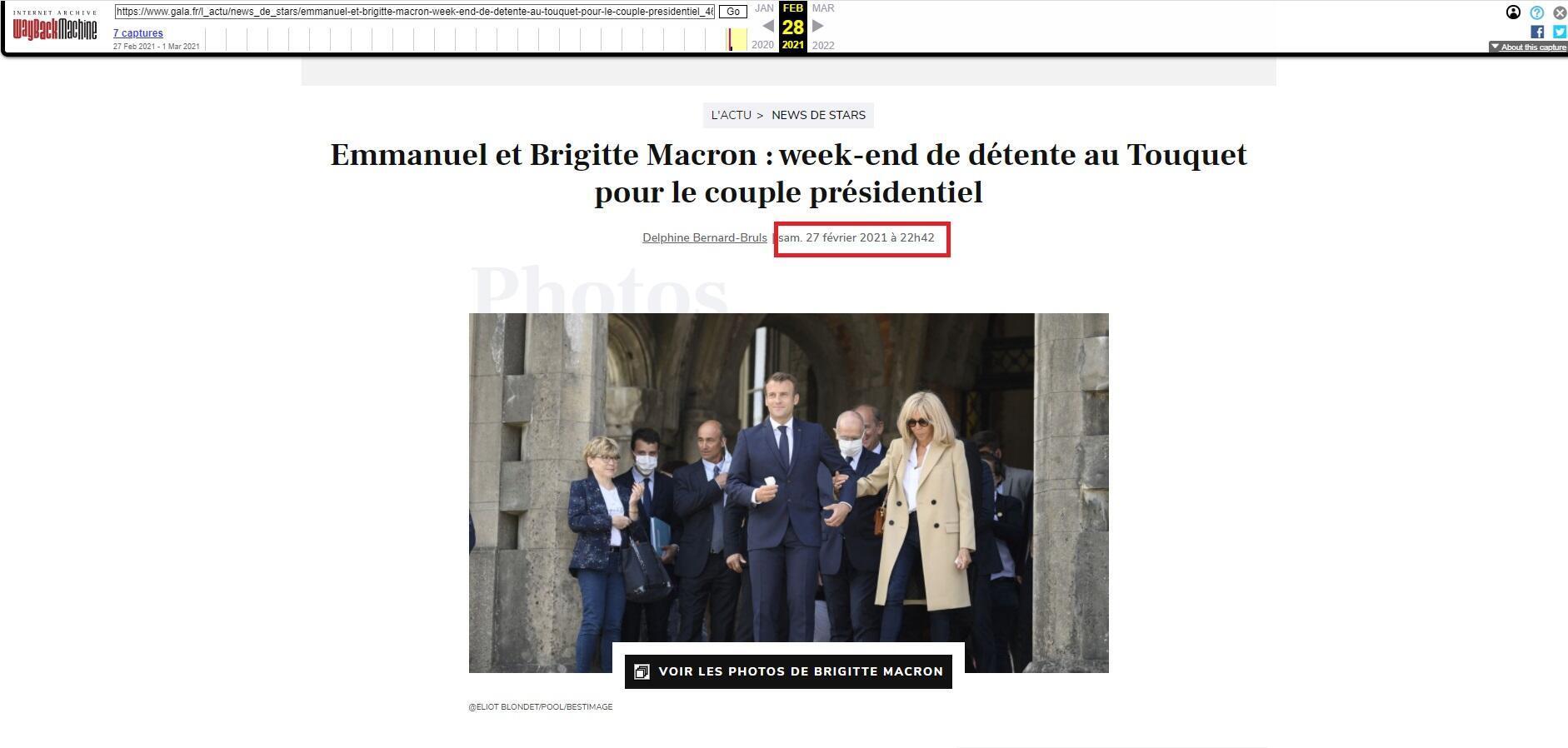 Grâce à la WaybackMachine, on constate que la première photo utilisée pour illustrer la visite du couple Macron au Touquet le week end du 27 février était une photo datant de juin 2020.