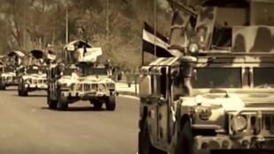 Capture d'écran d'un vidéo-clip louant les victoires de l'armée irakienne sur le groupe État islamique en Irak.