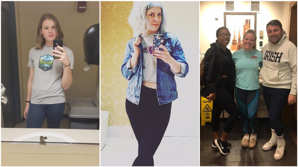 Students at the University of Notre Dame in Indiana used the hashtag #leggingsdayND to protest a letter criticising young women's clothing choices. (Photos: The Leggings Protest/Facebook, @danigreen41)