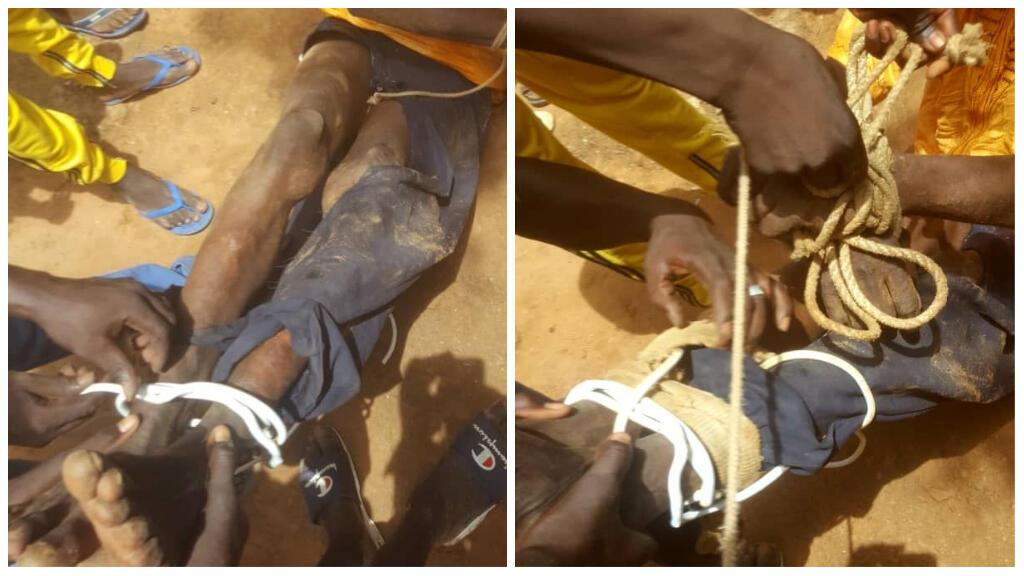 Photo montrant l'agression d'un homme à Kayes, dans le sud-ouest du Mali, le 17 septembre 2019.