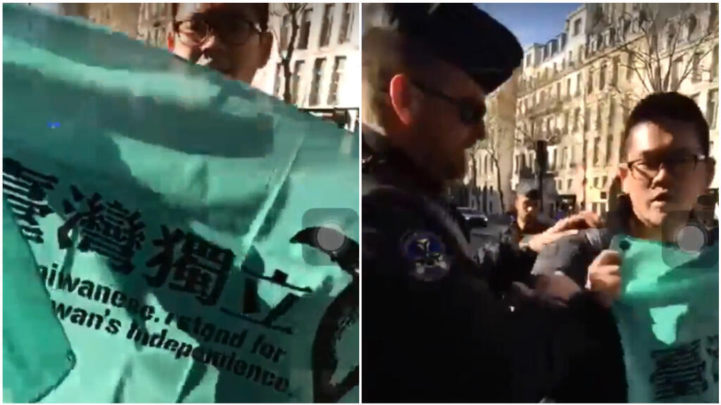 Pho-Han Wu, a Taiwanese student at Sciences Po, was stopped by police when he unfurled a banner protesting President Xi Jinping of China during the latter's official visit to Paris on March 26.