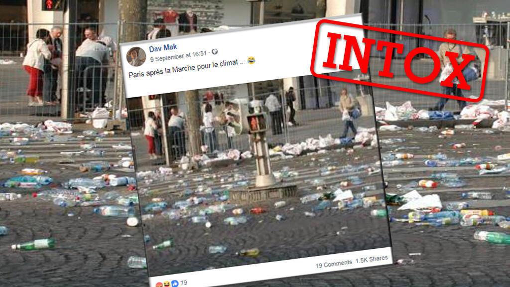 Des plastiques jonchent les rues lors de la Marche pour le climat organisée le 8 septembre? Attention, c'est une intox.
