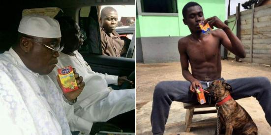 La photo du candidat de l'opposition Nana Addo Dankwa Akufo-Addo (à gauche) est détournée par les internautes qui le soutiennent depuis une semaine sur les réseaux sociaux.