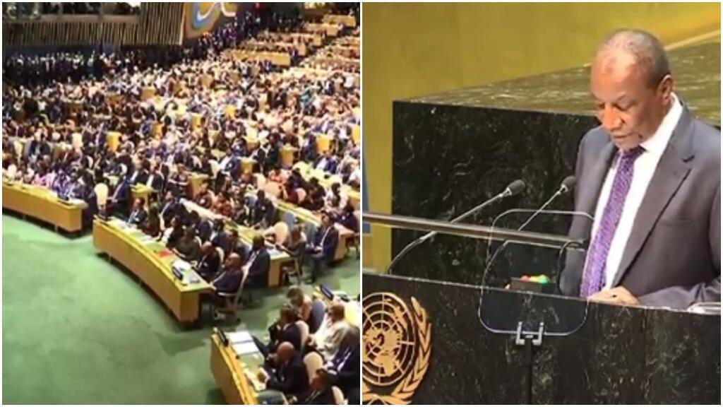 Captures d'écran d'une vidéo publiée le 25 septembre sur la page Facebook de la présidence guinéenne et montrant l'intervention d'Alpha Condé à la tribune de l'ONU.