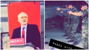 Une vidéo partagée sur Snapchat montre des soldats britanniques se servant d'une photo de Jeremy Corbyn comme cible lors d'un entraînement.