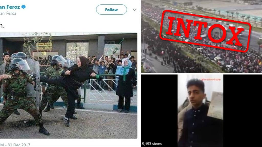De nombreuses images prétendant illustrer les manifestations en Iran ont été publiées à tort sur les réseaux sociaux. Crédit : Les Observateurs / Twitter.