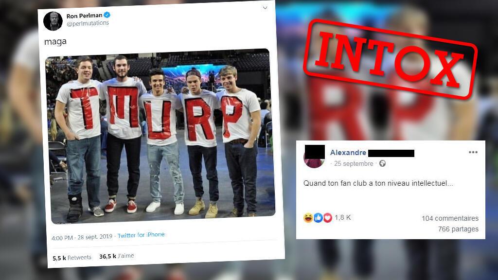 Une photo montrant des supporteurs de Trump ne sachant pas s'aligner correctement pour écrire son nom a beaucoup fait rire. Mais elle a été modifiée graphiquement.