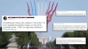 """D'après le tweet, comme d'après les commentaires, il faut voir dans le positionnement des couleurs un """"signe"""" envoyé par les militaires."""