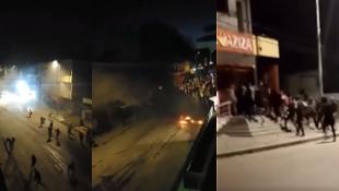 De gauche à droite : capture d'écran d'une vidéo montrant des affrontements entre des manifestants et les forces de l'ordre à Tunis, dans la nuit de dimanche 17 janvier ; capture d'écran montrant un magasin pillé à Sousse, dans la nuit de samedi 16 janvier.