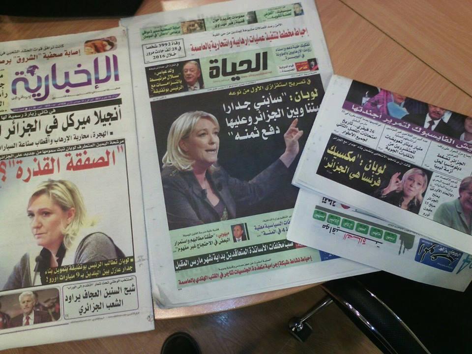 """عدة صحف جزائرية تناقلت بشكل جدي مقال صحيفة """"غورافي"""" الساخرة عن مارين لوبان والجدار المزعوم الذي تنوي بناءه بين فرنسا والجزائر. الصورة: تويتر"""