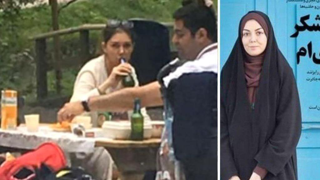 """On the left: the journalist unveiled and drinking a beer. On the right: featured in an Iranian media, declaring that she is """"proud to wear the chador""""."""