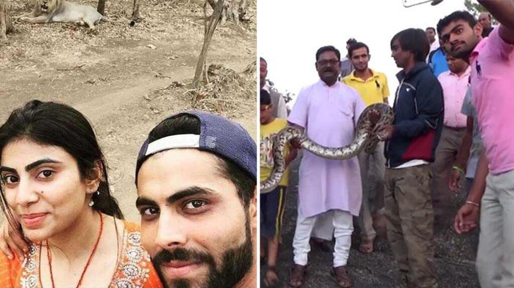 Une star du cricket prend un selfie devant un lion. Un Indien devant un python, qui le mordra une seconde après.