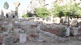 This garden in Aleppo was turned into a cemetery. (Photo published by activists on social media)