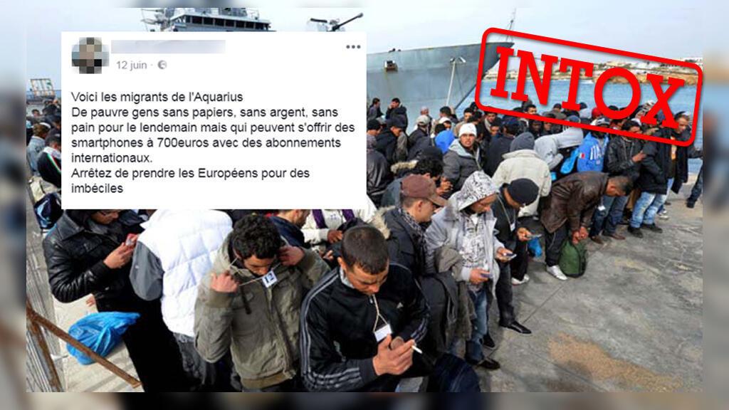 Capture d'écran du commentaire prétendant qu'il s'agit des migrants à bord de l'Aquarius.