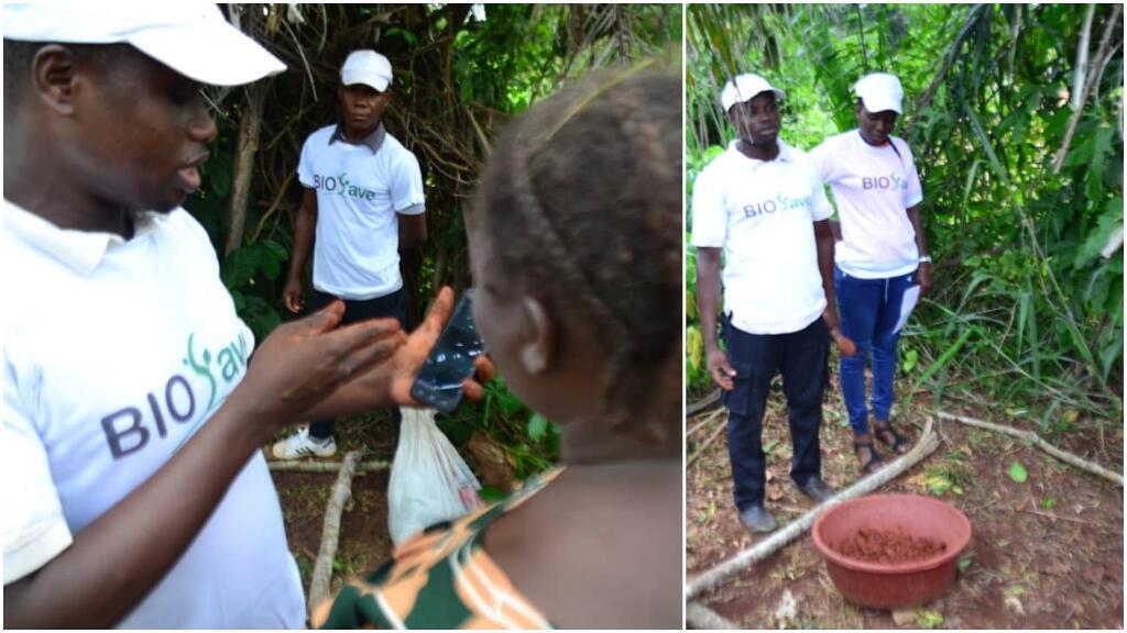 Des étudiants ivoiriens ont lancé une application pour permettre aux agriculteurs de fabriquer des engrais bio. Photos : BioSave / Kouassi Kotchi Willy Ramses.