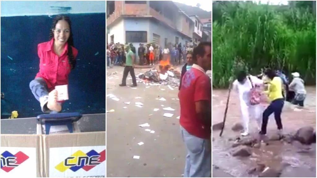 Screen captures from videos shared on Venezuelan social media on July 30.