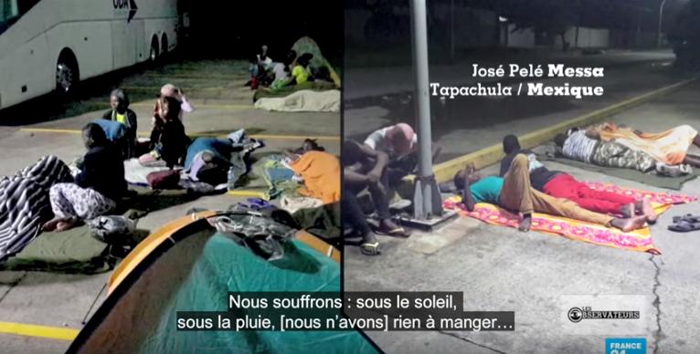 Ces migrants dorment sur le sol, dans des tentes, en attendant d'obtenir peut-être des papiers qui leur permettront de continuer leur voyager vers le nord.
