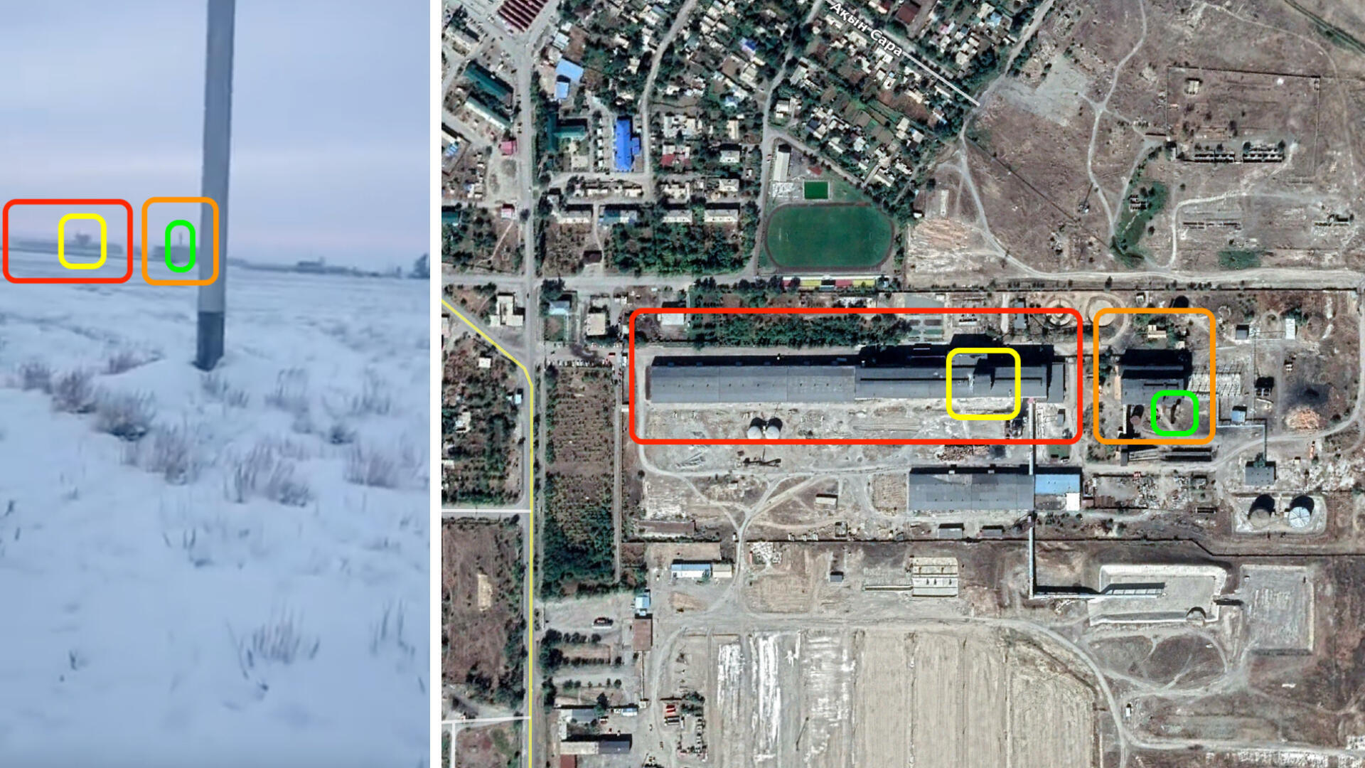 Screenshot of the video (left) and satellite imagery of the factory (right)