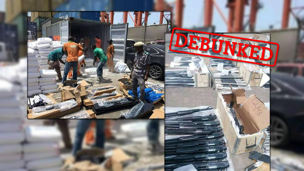 Photos showing a container filled with weapons have been circulating online. But contrary to the claims of certain people on social media, these images don't show weapons from France that were seized in Burkina Faso.