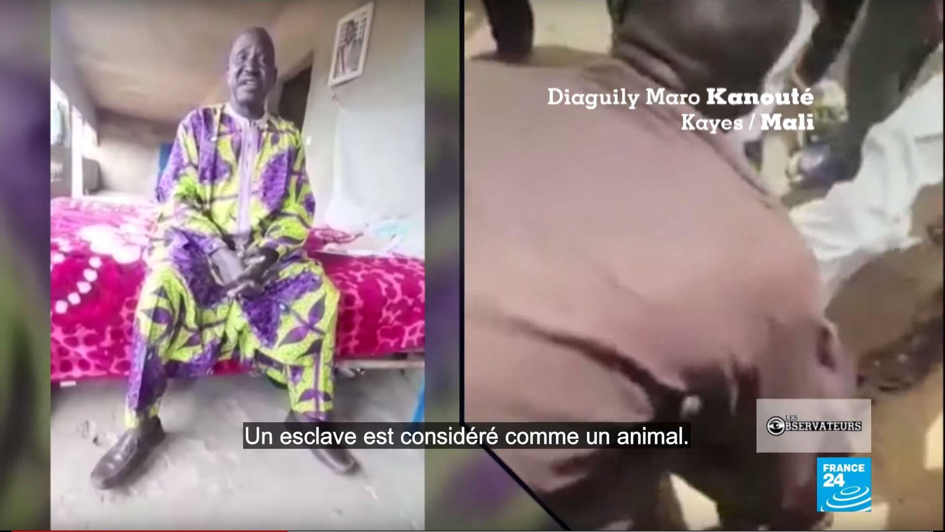 À droite, une vidéo partagée sur les réseaux sociaux montre un homme opposé à l'esclavage se faire agresser et ligoter à Kremis, au sud-ouest du Mali.