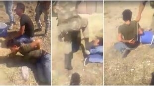 Screen captures from the video that shows the four Syrians being beaten up by Turkish soldiers.