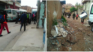 Algerian police drive migrants out from the Coca neighbourhood in Oran. (Photos from our Observer.)