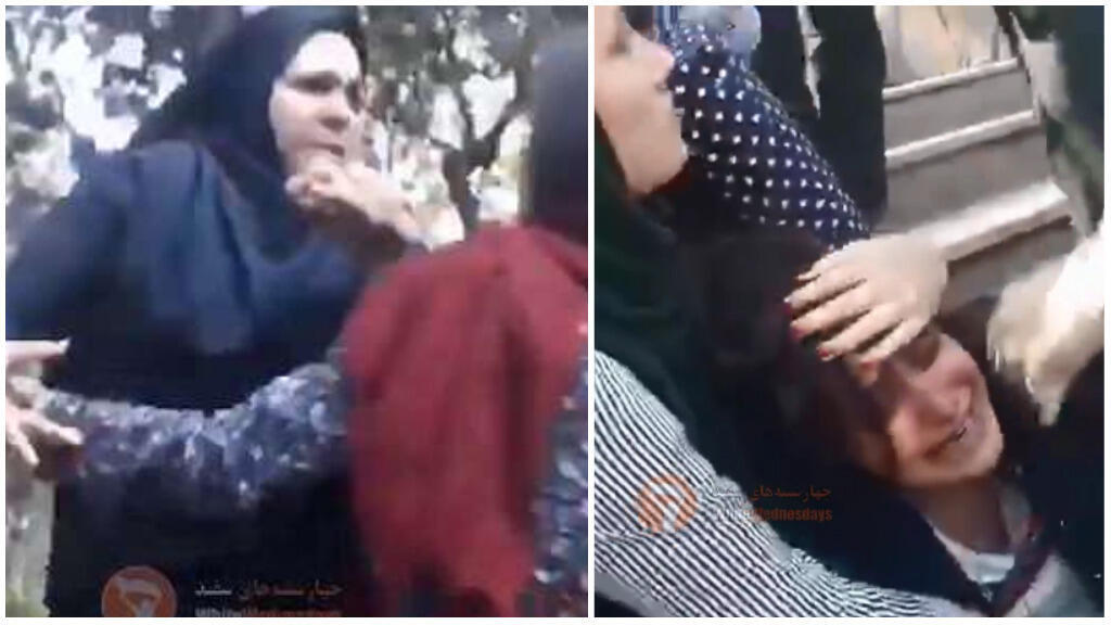 Screengrab from the video of a woman being harassed by Iran's morality police in a Tehran park on 18 April 2018.