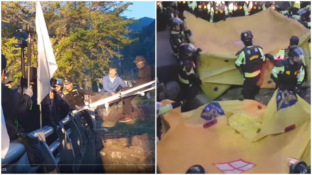 Environ 200 manifestants, 3 000 policiers et des matelas gonflables en cas de chute.