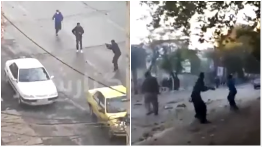 In the photo of the left, an Iranian police officer shoots at someone. In the video on the right, protesters throw stones.