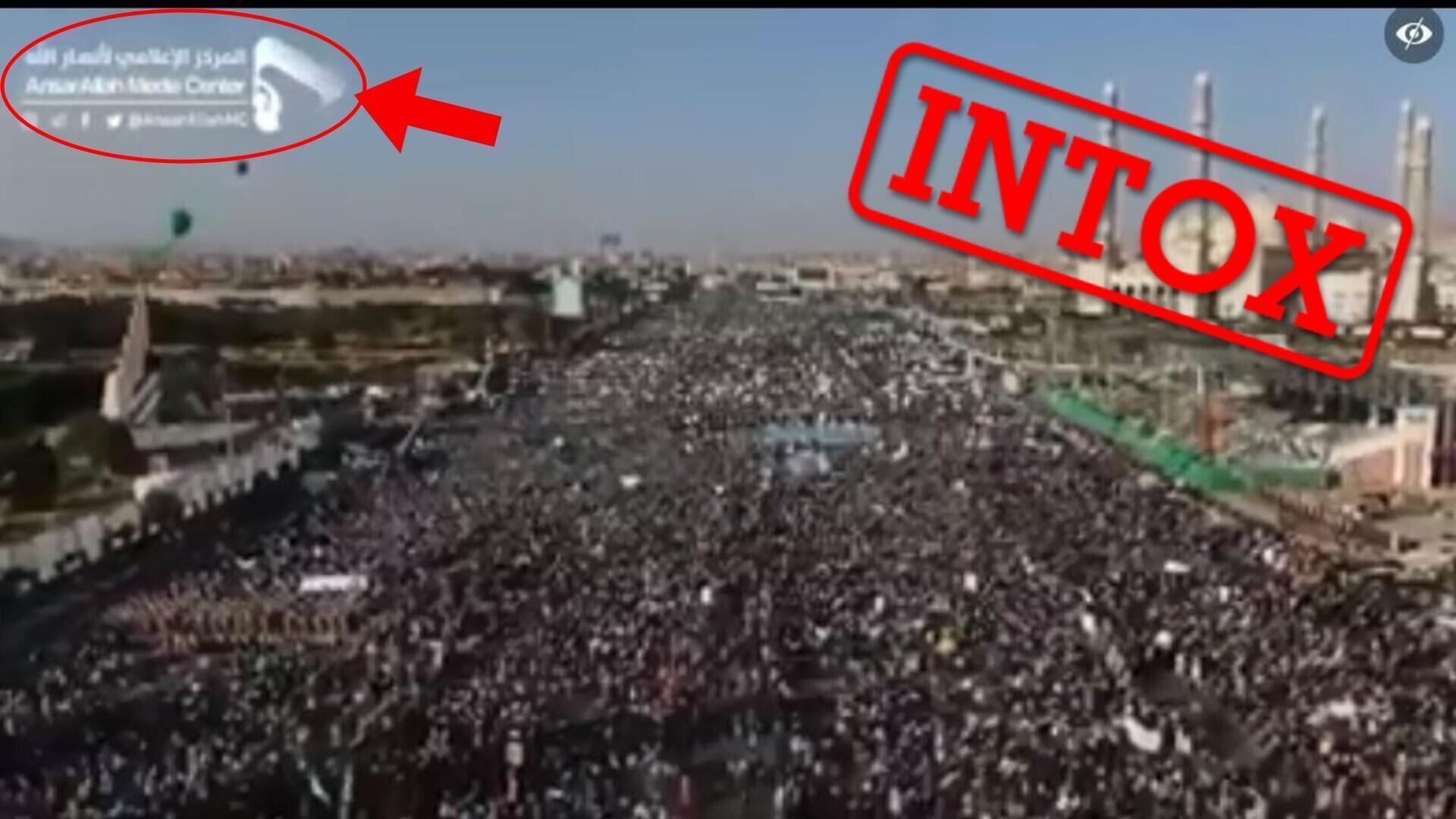 Ce grand rassemblement n'a pas été filmé à Istanbul en 2020, mais à Sanaa (Yémen) en 2019, à l'occasion de la fête de l'anniversaire de Mahomet. Capture d'écran Facebook.