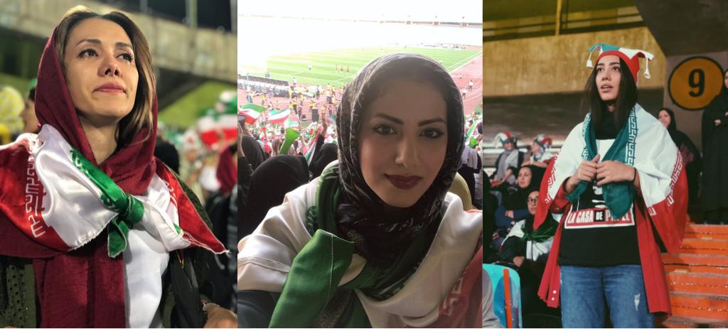 Des Iraniennes assistent à un match de football à Téhéran, la capitale iranienne, jeudi10octobre. Crédits: Twitter / @hosmey_v, @rozhansteiger, @shohre_naseri.