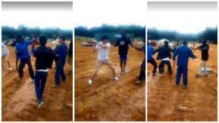 Une série d'images publiées sur les réseaux sociaux à partir du 31 août permet d'apercevoir des entrepreneurs étrangers frapper à coup de bâtons des jeunes sur un chantier forestier. Capture d'écran / Facebook.