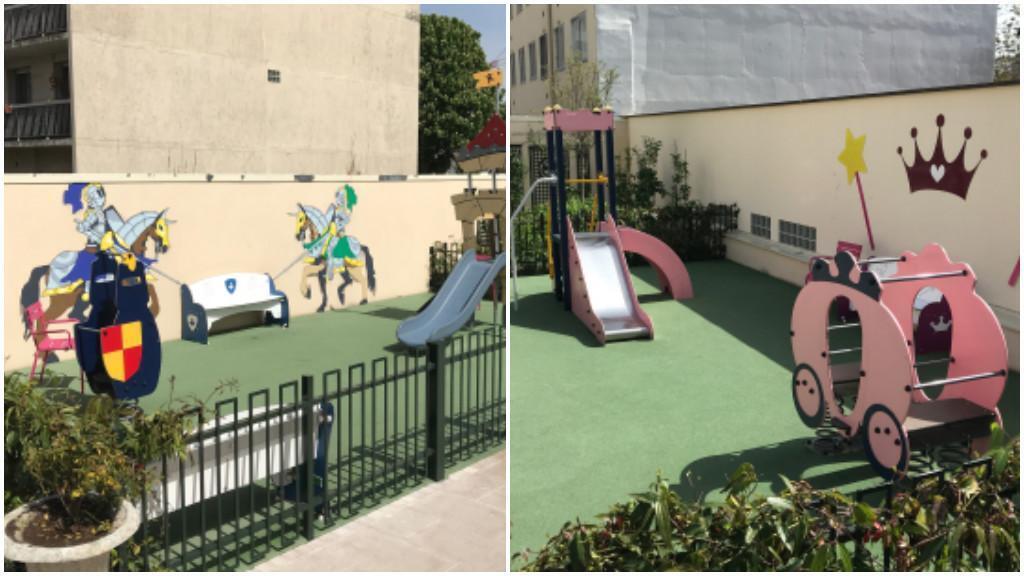 """Le blogueur et politique Christophe Grébert a pris en photo une aire de jeu de Puteaux. À gauche, l'aire """"pour les garçons"""" et à droite, celle """"pour les filles""""."""
