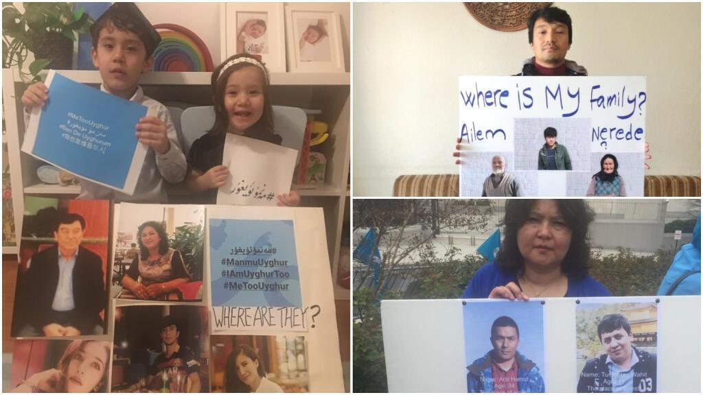 """""""Où sont-ils ?"""" : sur les réseaux sociaux, la diaspora ouïghoure publie des photos de disparus. Crédit : captures d'écran / Twitter"""