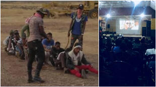 "Left: a scene from the film ""The Immigrant"", written and directed by Mamadou Baillo Bah. Right: a screening of the film in Dinguiraye in August 2019."