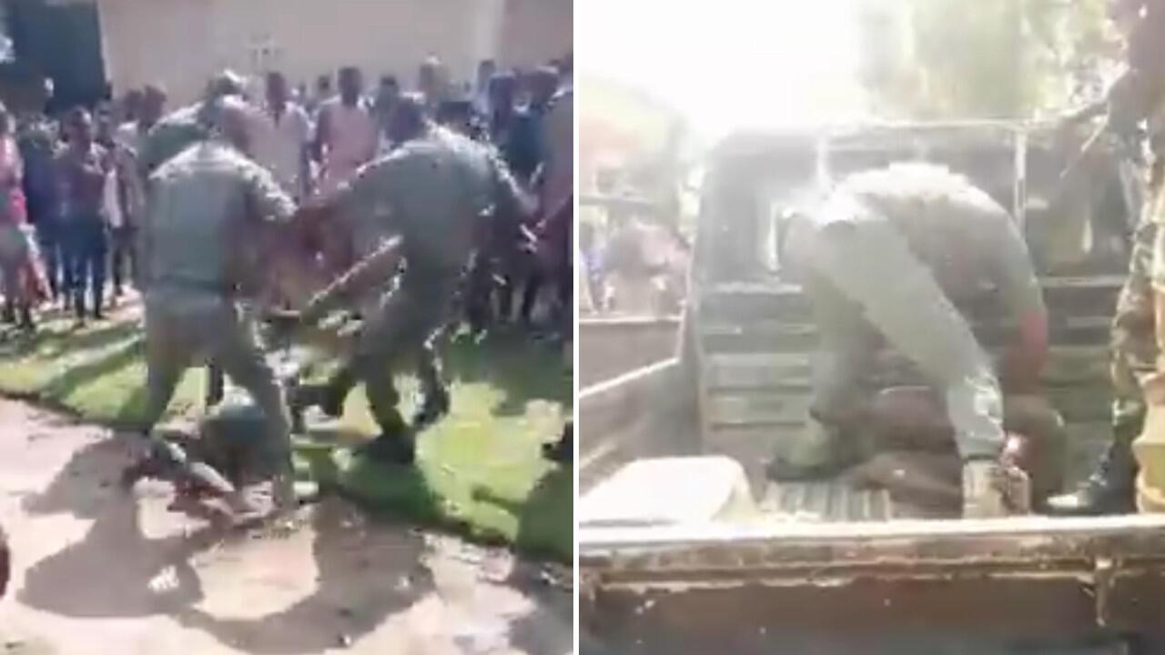 """Des militaires en train de tabasser sauvagement deux """"bébés noirs"""" dans la cour d'un lycée de la ville de Gamboma au Congo Brazzaville."""