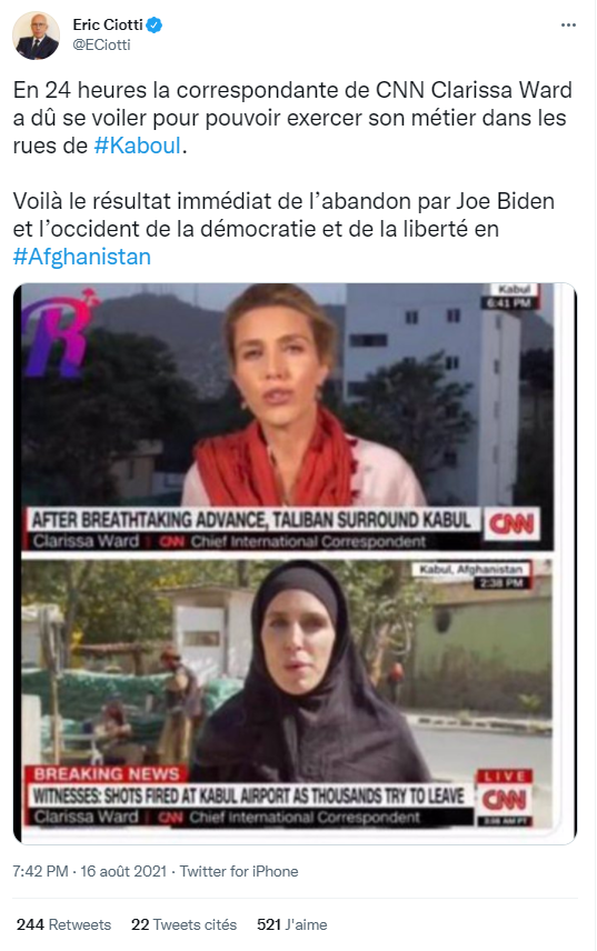 A Twitter post published by French politician Eric Ciotti on August 16, 2021, showing two screenshots of CNN journalist Clarissa Ward reporting from Afghanistan.