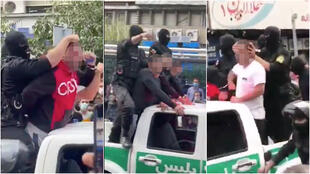 Iranian police expose suspected criminals in public and humiliate them. (Screengrab of videos shared by eyewitnesses.)