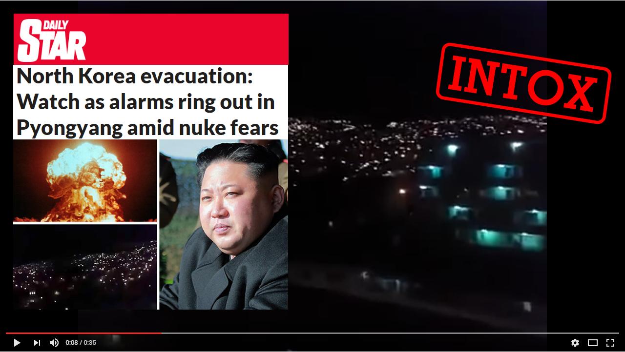 Le DailyStar a affirmé, vidéo à l'appui, que des alarmes avaient résonné en Corée du Nord pour procéder à l'évacuation de 600 000 personnes. Une intox montée de toute pièce avec une fausse vidéo.