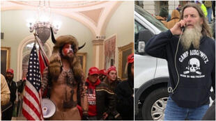 "At left, a pro-Trump extremist sports horns and carries the American flag as he walks through the Capitol building after it was invaded by rioters on January 6. The image on the right shows another rioter wearing a sweatshirt emblazoned with ""Camp Auschwitz"" as he stands in front of the building."