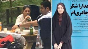 A gauche, Azadeh Namdari, une présentatrice iranienne, prise en photo dans un parc en Suisse en train de boire de la bière. A droite, la même journaliste défendant le port du tchador en Iran.