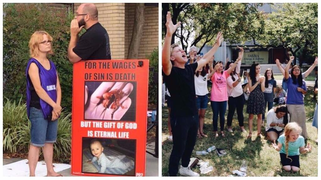 Images of anti-abortion activists protesting the EMW Women's Surgical Center. Photo on the left from Every Saturday Morning. Photo on the right from Instagram account of Operation Save America.
