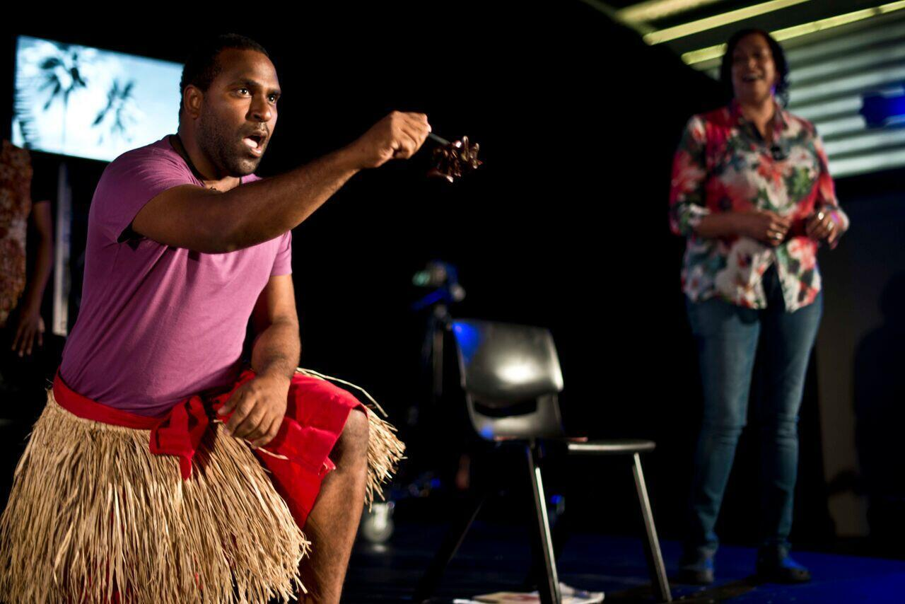 """Cast member Harry Reuben performs """"Beautiful One Day"""" on his native Palm Island (Photo: Richie Hallal)"""
