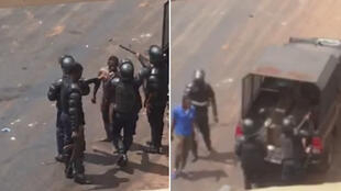 Captures d'écran des deux vidéos ci-dessous, tournées mardi 15octobre, à Conakry, en Guinée, en marge de manifestations.